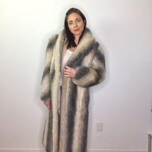 Vintage Faux Cream Gray Long Fox Fur Coat